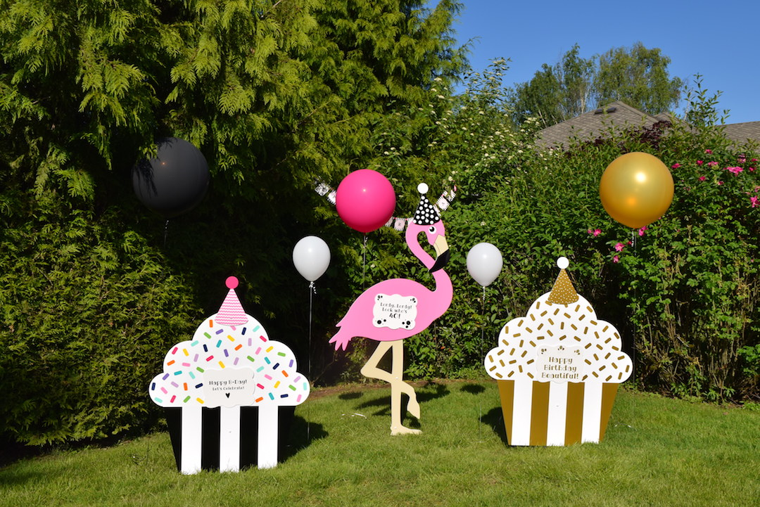 Celebration Birthday Yard Signs Cupcake Flamingo Party Decorations