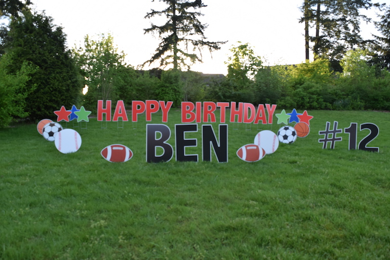 Shopping Cart 2 Sports Fan Birthday Yard Card Signs Outdoor Party Decorations