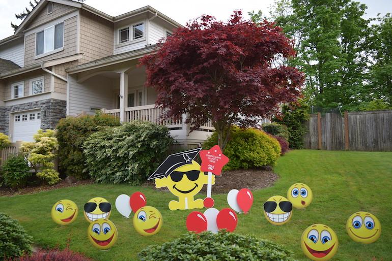 Mr Smiley plus Emojis Yard Card Signs Birthday Graduation Good Luck Decorations