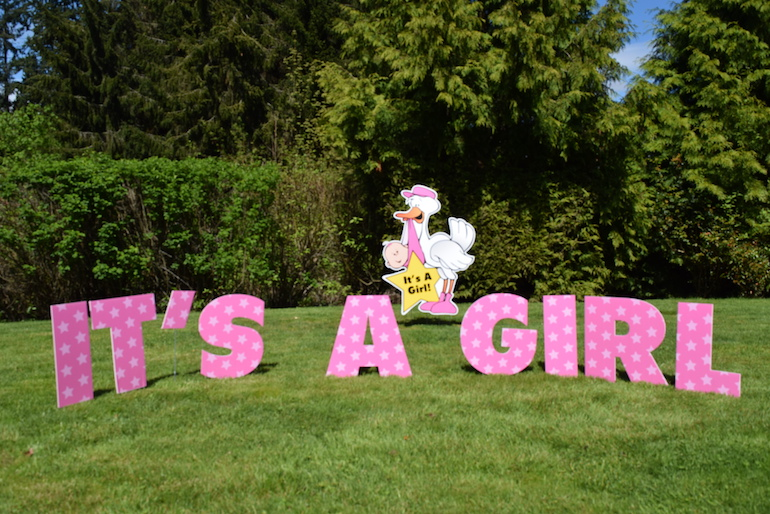 It's a Girl Yard Card Signs Birth Announcment Display for the Front Lawn