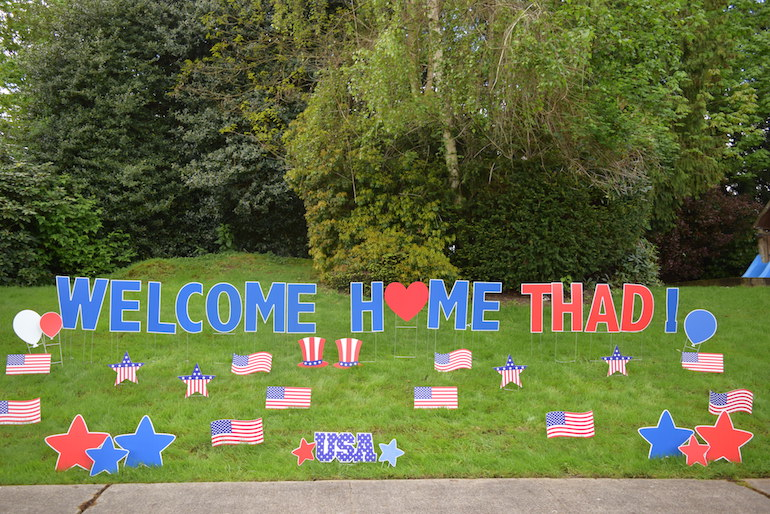 Patriotic yard signs great for military send offs or for Patriotic welcome home decorations