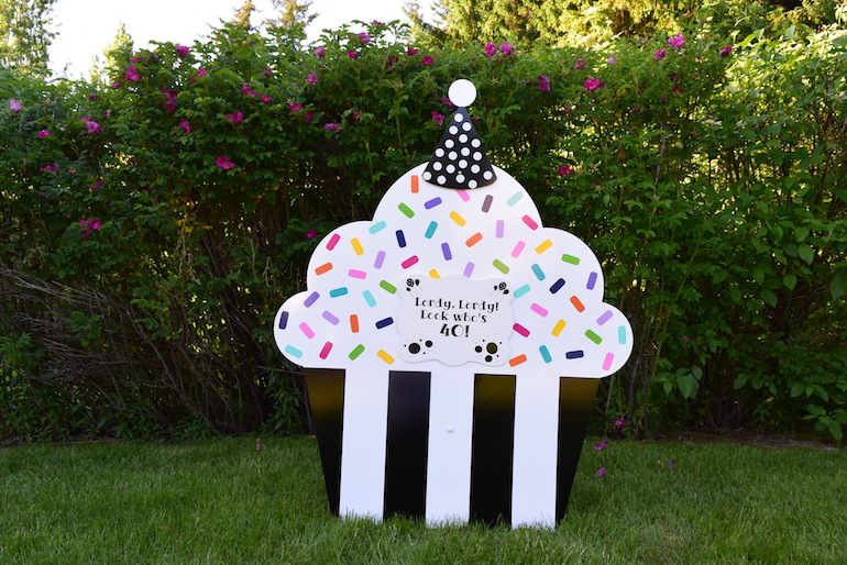Black Tie Cupcake Happy Birthday Yard Sign with Customized Message Party Decorations