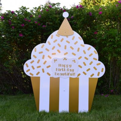 Golden Cupcake Happy Birthday Yard Sign with Customized Message Party Decorations