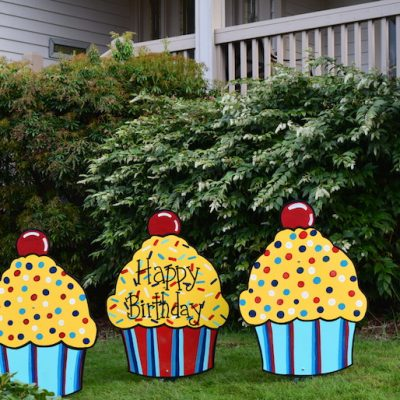 Three Happy Birthday Cupcake Yard Signs Red Yellow Blue Fun Party Decorations