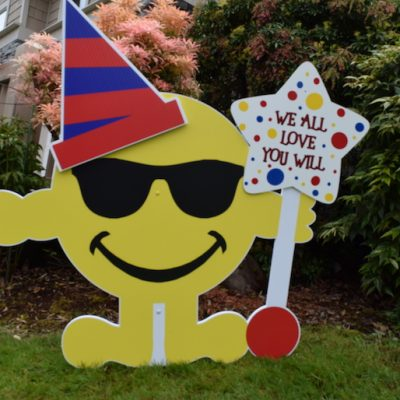 Yellow Mr. Smiley Yard Sign with Hat Smile Emoji Birthday Party