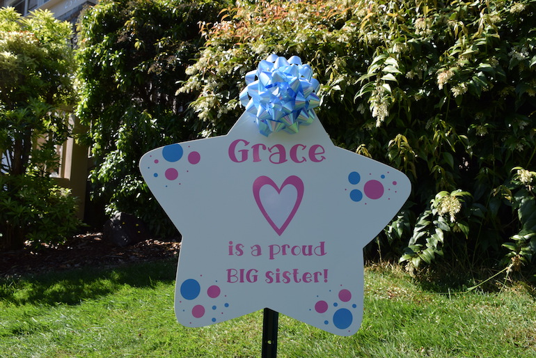 New Baby Birth Announcment Sibling Star Big Brother and Big Sister are important too