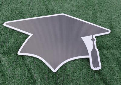 G-423 Black White Grad Cap