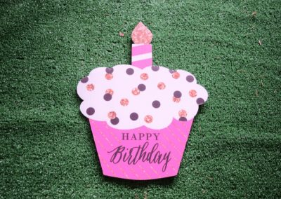 G-87 Pink White Black Polka Dot Mini Cupcake