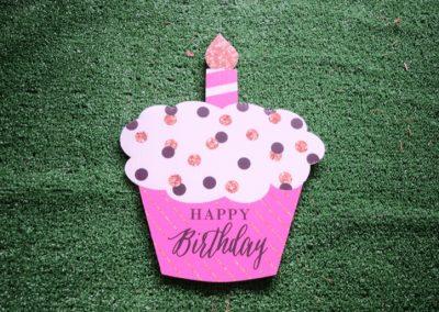 Pink White Black Polka Dot Mini Cupcake