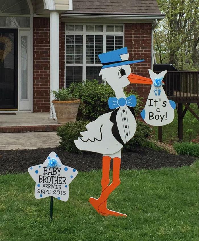 Boy Stork Birth Announcement Yard Sign Yard Announcements – Stork Birth Announcement