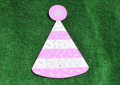 T-2 Pink White Glitter Party Hat