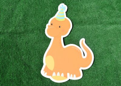 G-112 Orange Dinosaur Birthday Sign