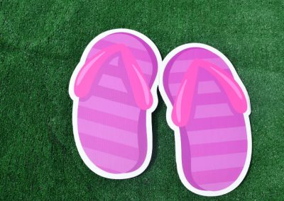 G-13 Purple Pink Striped Flip Flops Yard Sign