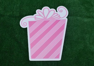 G-51 Pink Striped Present Yard Sign
