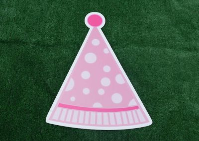 G-52 Pink Polka Dot Party Hat Yard Sign