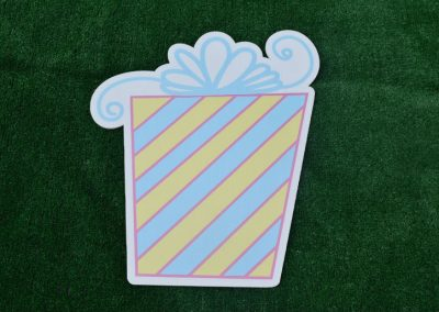 G-58 Blue Yellow Striped Present Yard Sign
