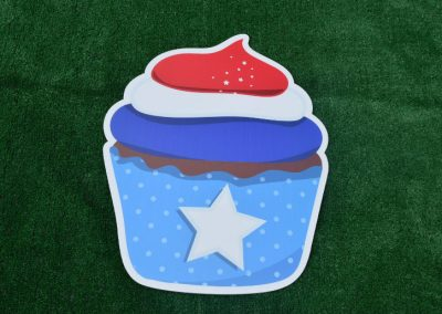 G-63 Red White Blue Cupcake Yard Sign