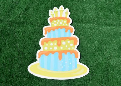 G-65 Birthday Cake Blue Orange Green Yard Sign