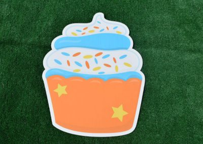 G-66 Orange Blue Birthday Cupcake Sign