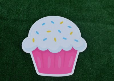 G-71 Pink White Birthday Cupcake Sign