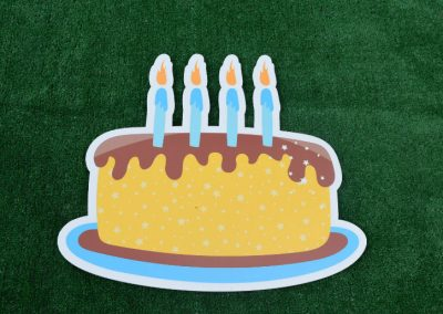 G-72 Blue Yellow Birthday Candles Cake Yard Sign