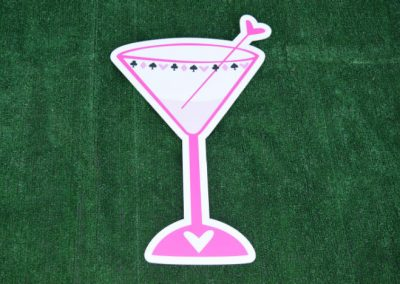 G-153 Pink Martini Glass Yard Sign