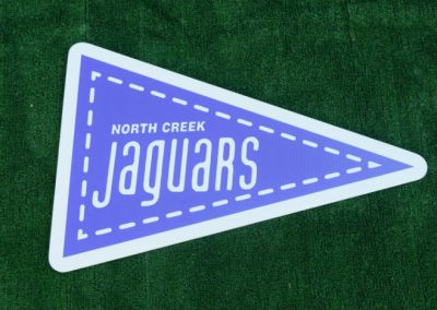 G-413 Go North Creek Jaguars High School Purple Flag Yard Sign