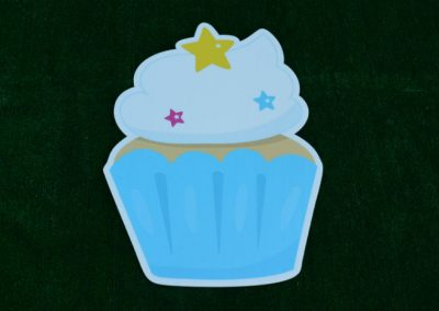 G-62 Blue White Star Cupcake Birthday Lawn Sign