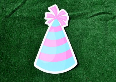 G-73 Blue Pink Striped Birthday Party Hat Yard Sign