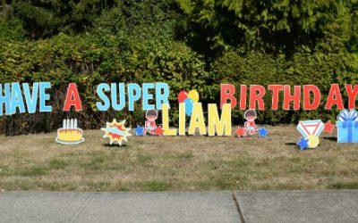 Birthday Yard Signs by Yard Announcements Make Awesome Themed Birthday Party Decorations –  You will be the Super Hero of the Party!