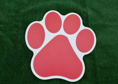Red Paw Print Yard Sign G-611