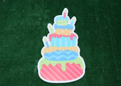 Birthday Cake Yard Sign Blue Red