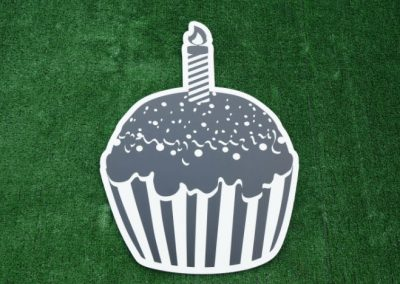 Black White Birthday Cupcake Yard Sign