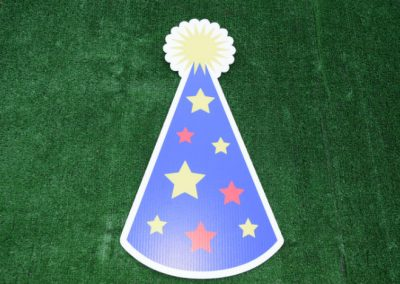 Blue Stars Birthday Party Hat Yard Sign