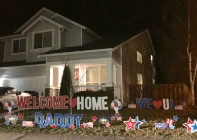 Patirotic Military Welcome Home Yard Display