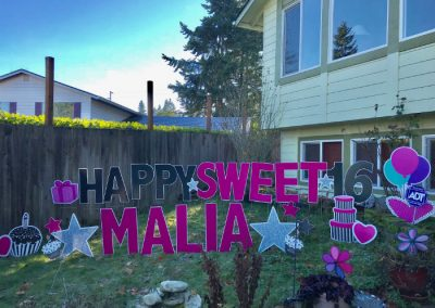 Sweet 16 Pink Black Birthday Yard Signs