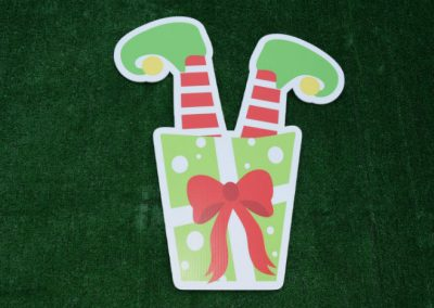 Upside Down Elf Christmas Gift Yard Sign