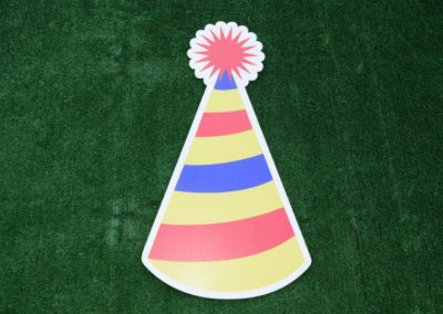 Yellow Red Blue Striped Birthday Hat Yard Sign