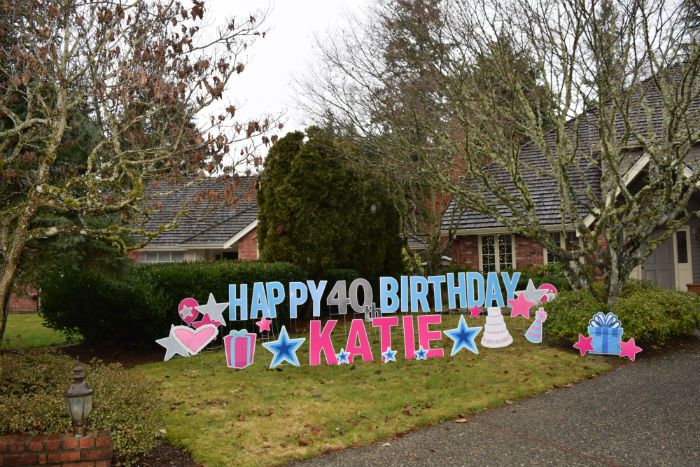 Happy Birthday Yard Sign Display With Name Age