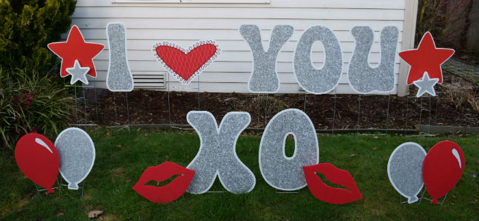 Valentines Day I Heart You Yard Signs II