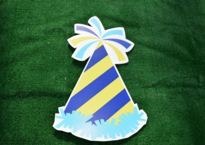 Blue Green Birthday Party Hat Yard Sign
