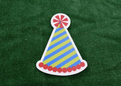 Blue Green Red Birthday Party Hat Yard Sign