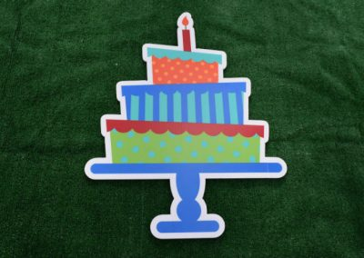 Blue Orange Green Birthday Cake Yard Sign
