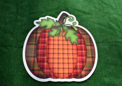 Fall Halloween Plaid Orange Pumpkin Yard Sign