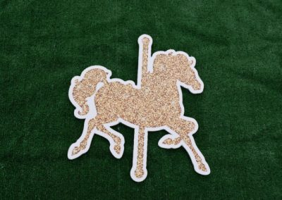 Gold Glitter Carousel Horse Yard Sign