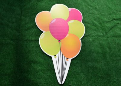 Orange Green Pink Balloon Bouquet Yard Sign