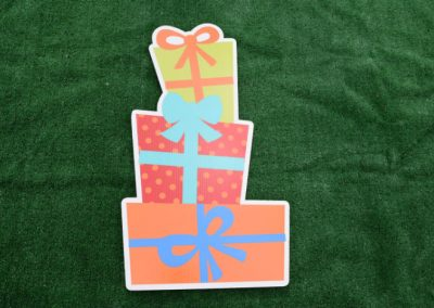 Orange Red Green Stacked Birthday Presents Yard Sign