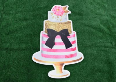 Pink Black Gold Glitter Cake Yard Sign