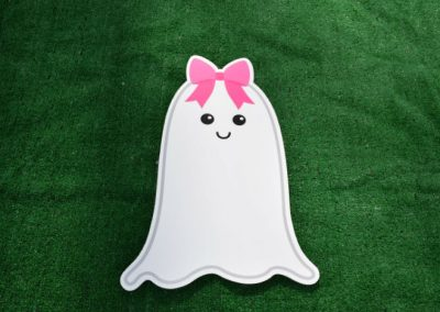 Pink Girl Ghost Halloween Yard Sign