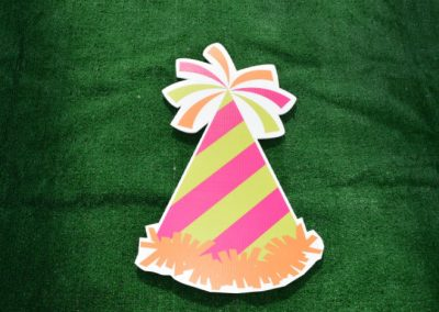 Pink Green Birthday Party Hat Yard Sign